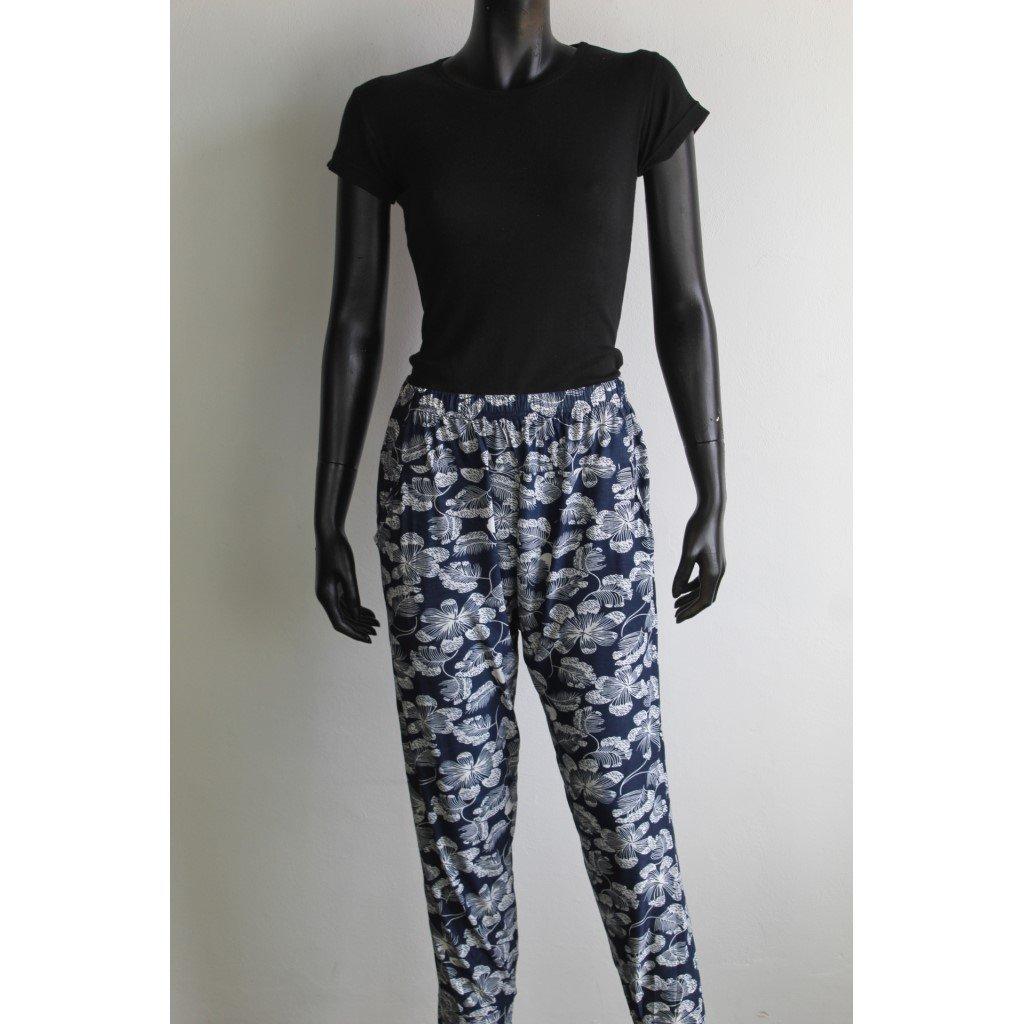 Kalhoty dámské na gumu tmavě modrobílé