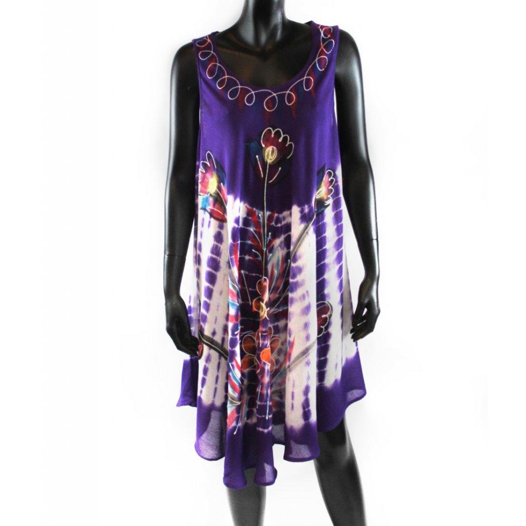 Batikované šaty vz.2 fialové