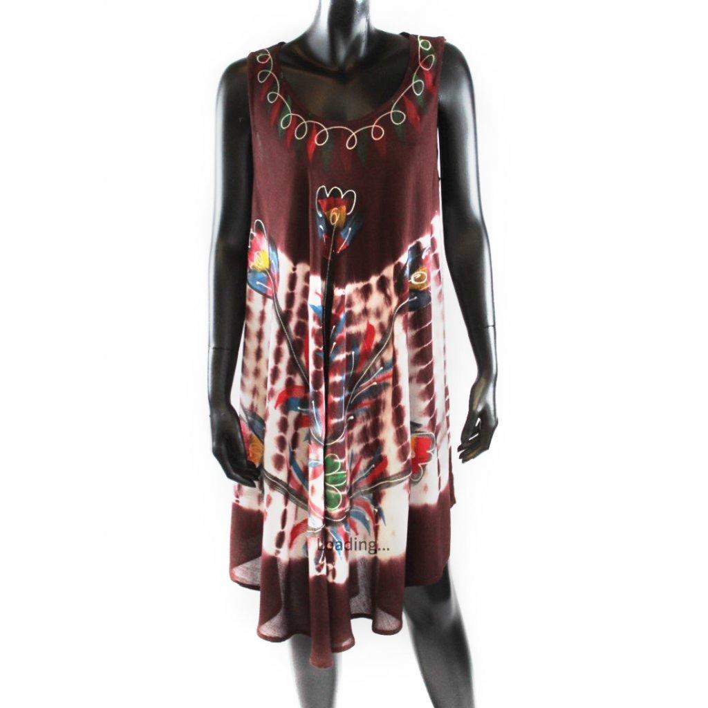 Batikované šaty vz.2 hnědé