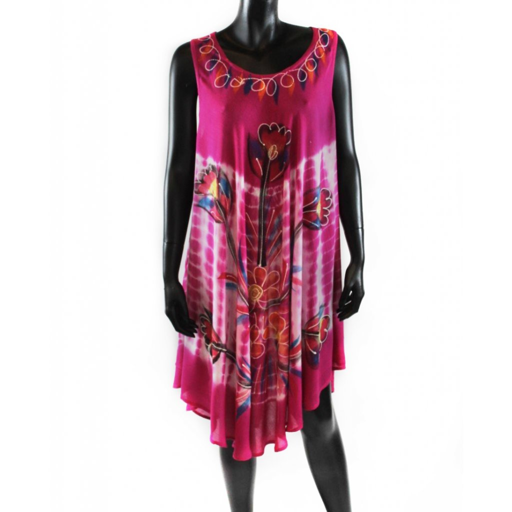 Batikované šaty vz.2 růžové