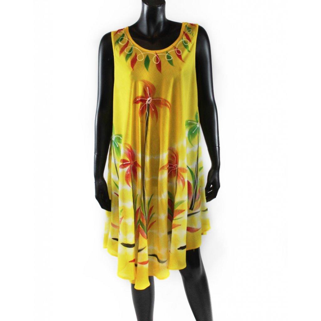 Batikované šaty vz.2 žluté