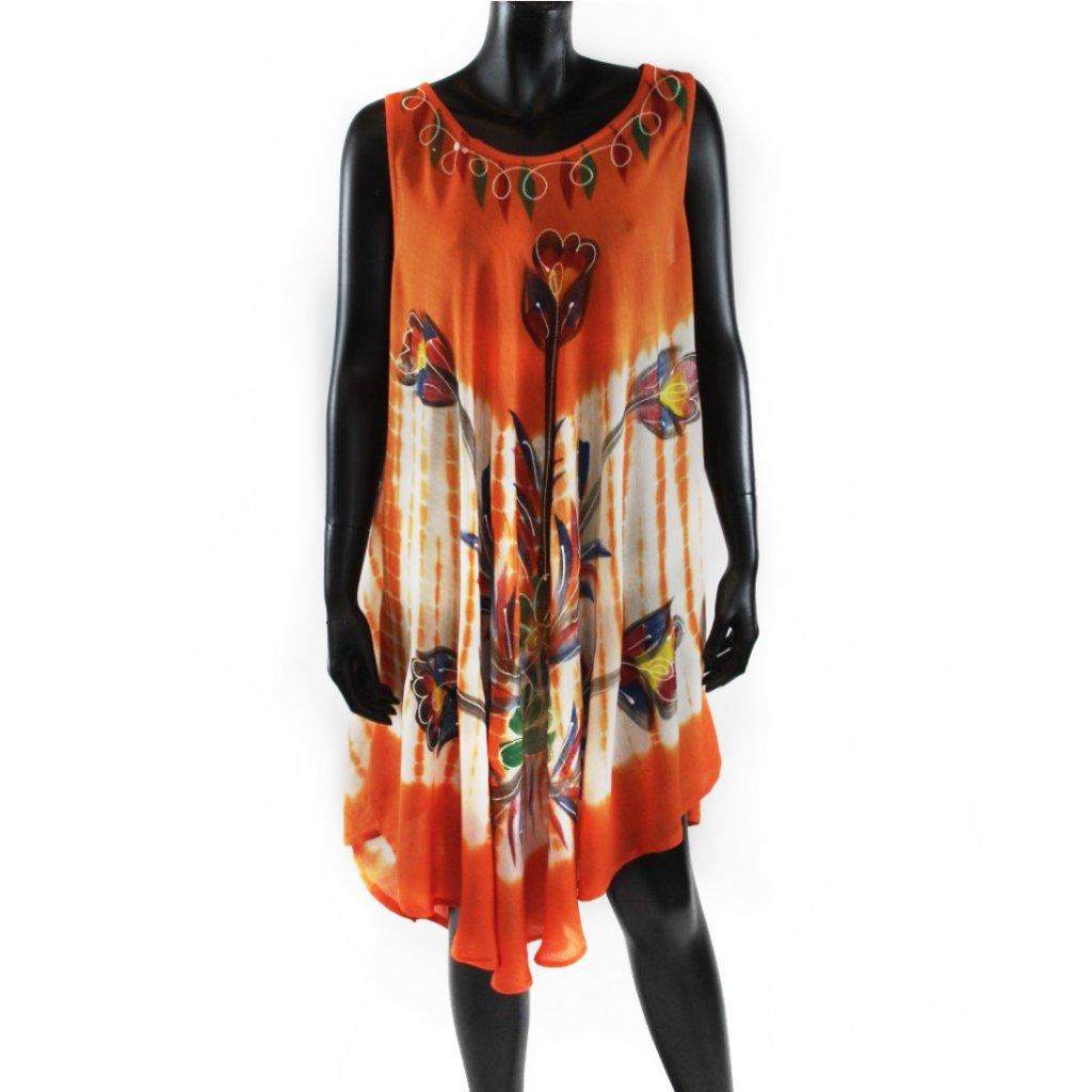 Batikované šaty vz.2 oranžové