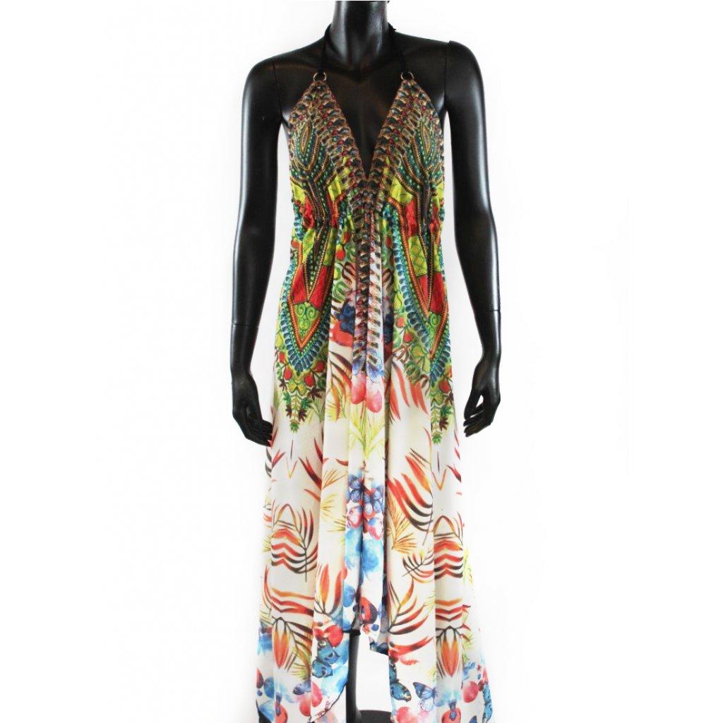 Batikované šaty dlouhé na ramínka bílé