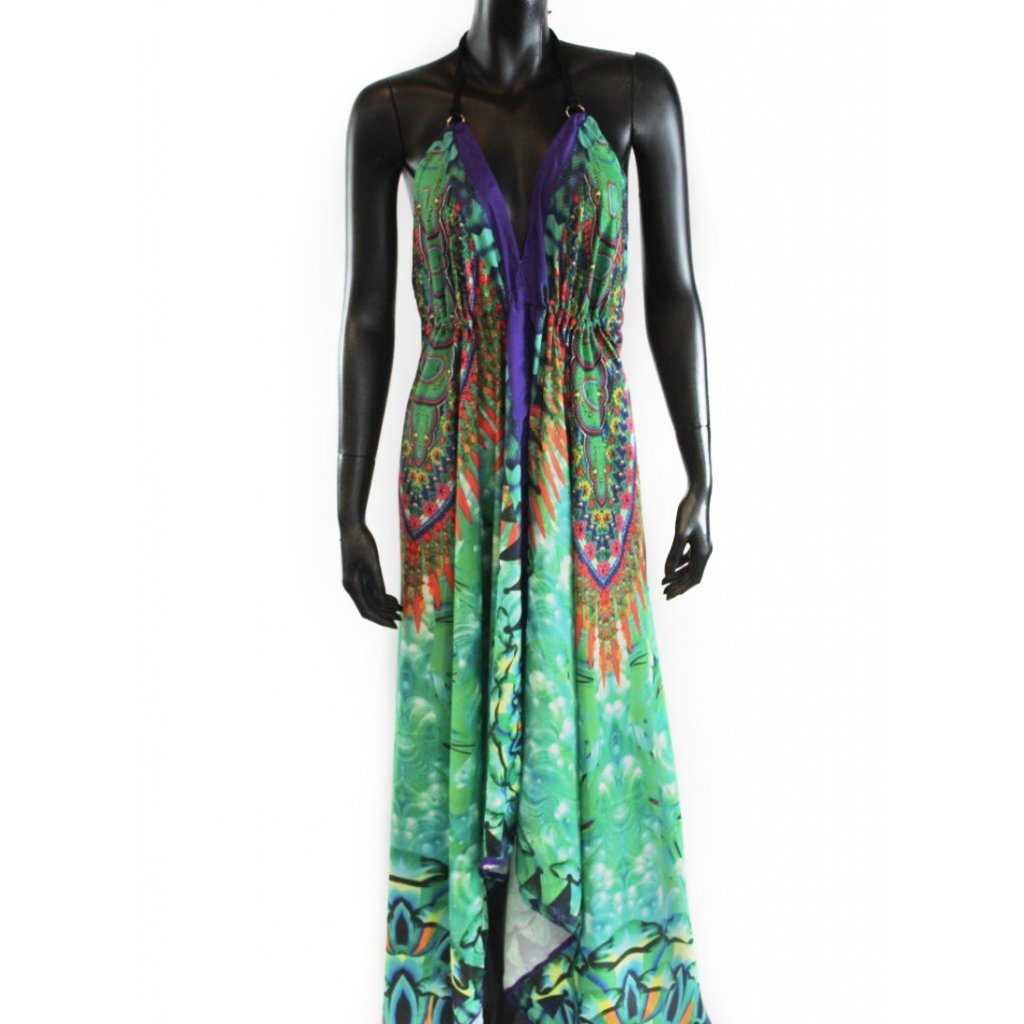 Batikované šaty dlouhé na ramínka zelené