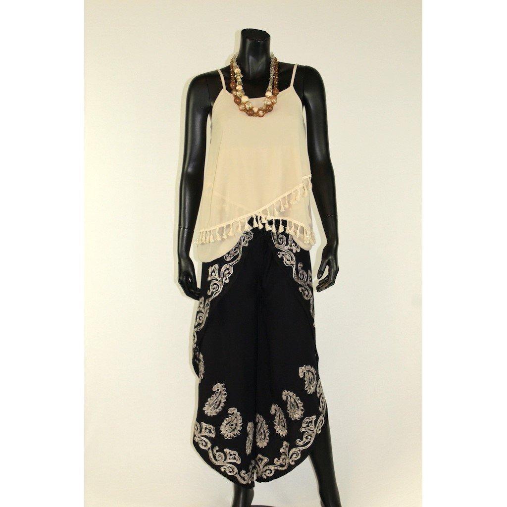 Kalhotová sukně černá se stříbrnou batikou