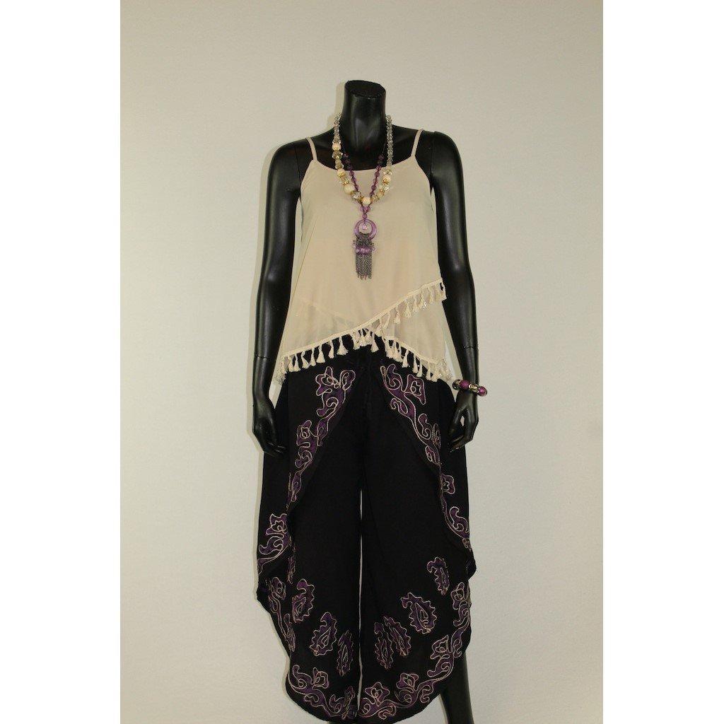 Kalhotová sukně černá s fialovou batikou
