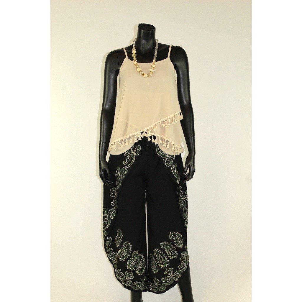 Kalhotová sukně černá se zelenou batikou