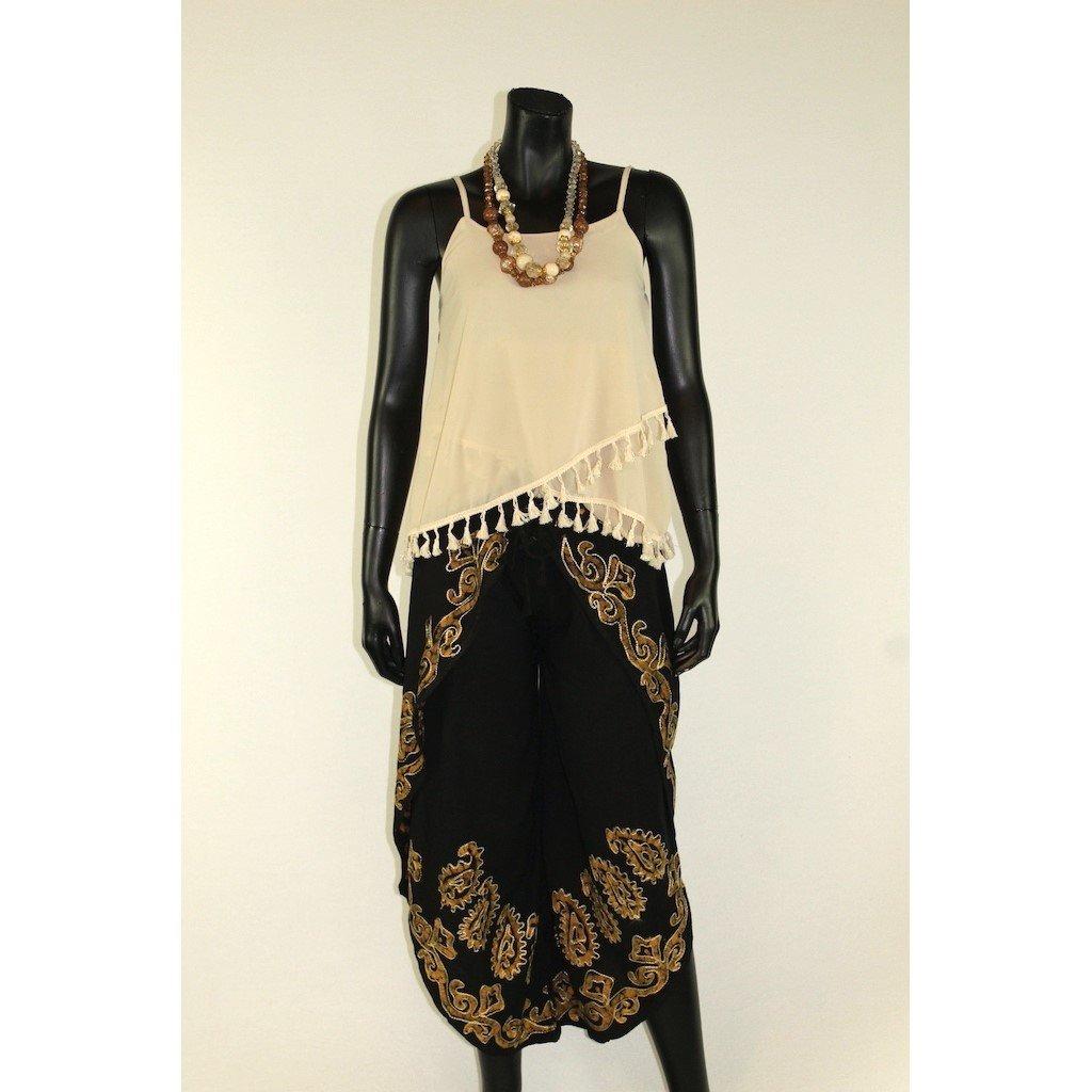 Kalhotová sukně černá s béžovou batikou