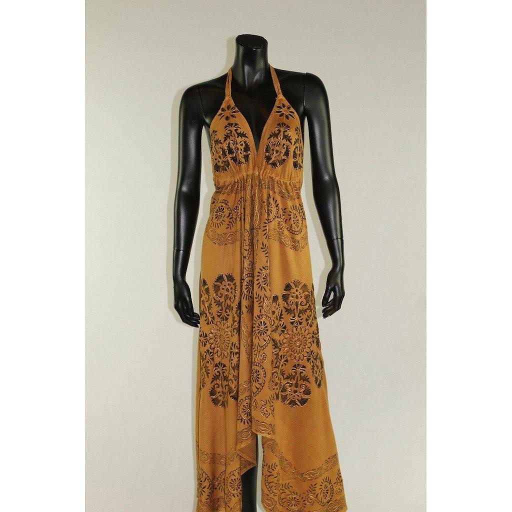 šaty hořčicové asymetrické