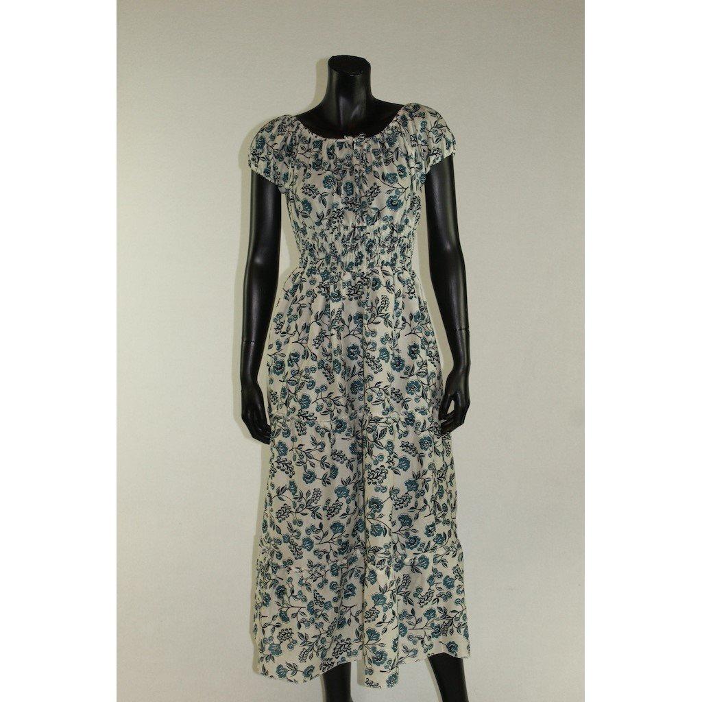 šaty s žebrováním bílé s modrými kvítky