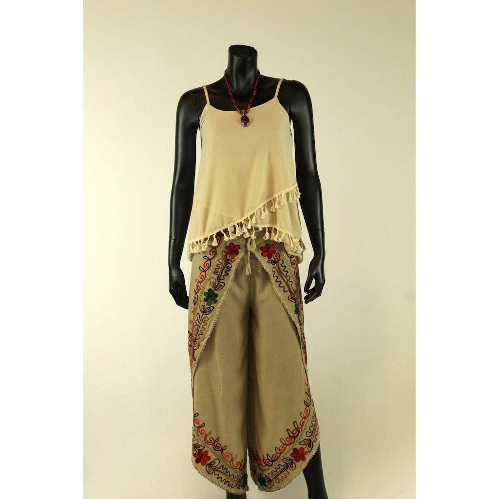 Kalhotová sukně béžová
