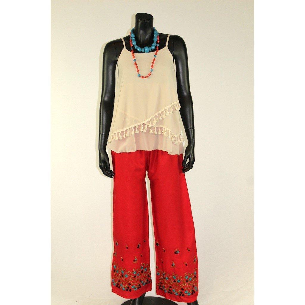 Kalhoty červené s výšivkou 1