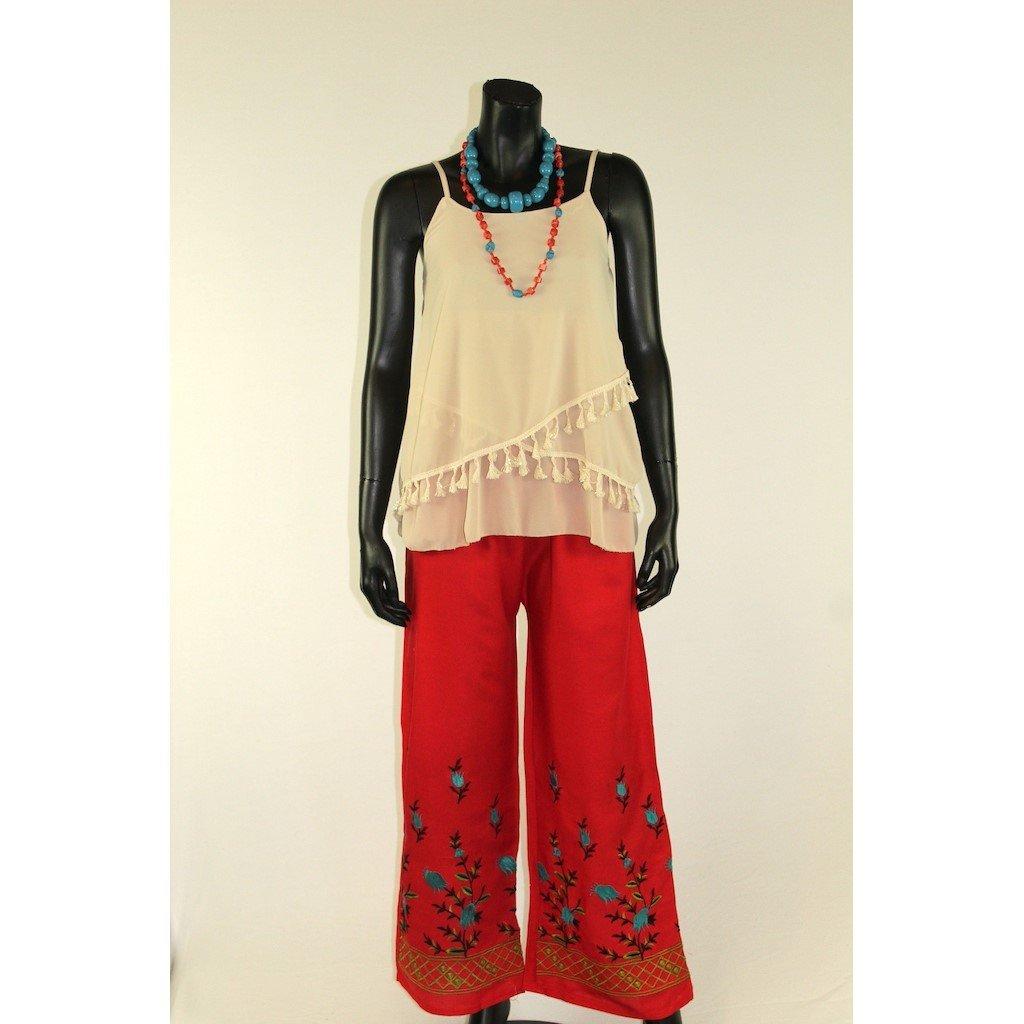 Kalhoty červené s výšivkou 2