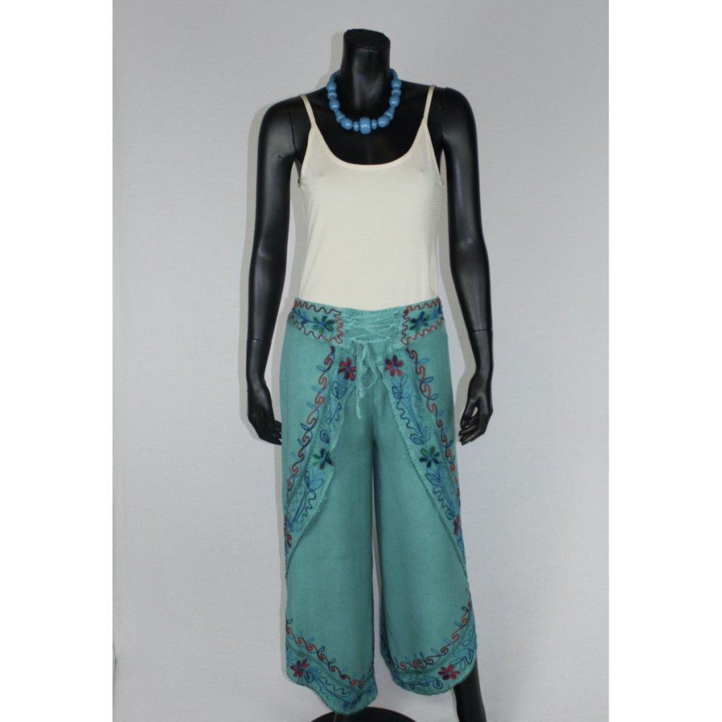 kalhotová sukně tyrkysová