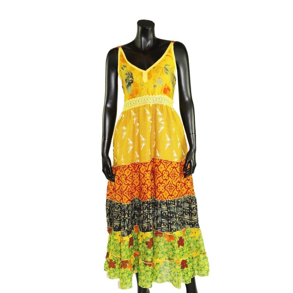 Šaty s nabíranou sukní žluté 2