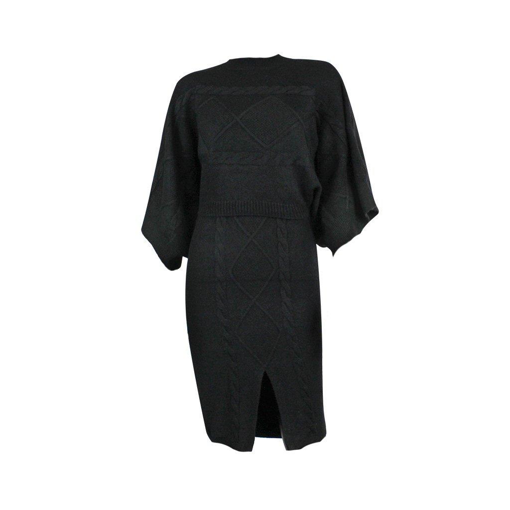 Úpletové šaty + svetr  Donna 94916 černé