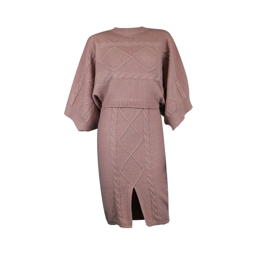 Úpletové šaty + svetr  Donna 94916 pink