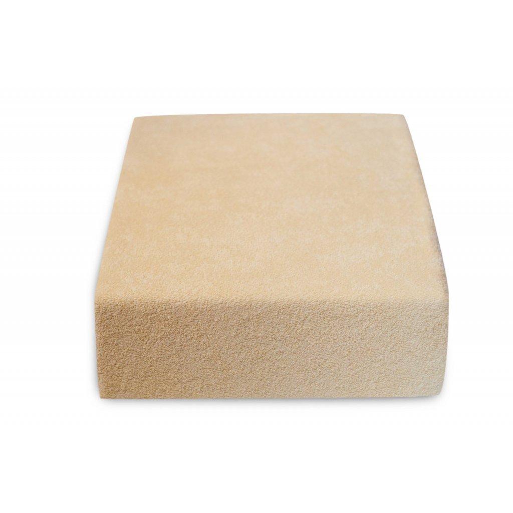 3379 prosteradlo bavlnene frote jednoluzko 90 x 200 cm bezove hnede