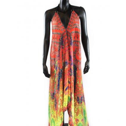 Batikované šaty dlouhé na ramínka oranžové