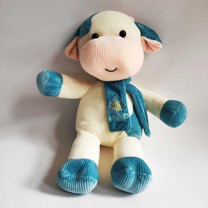 Dětský polštář 4D kravička modrá 47 cm