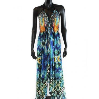Batikované šaty dlouhé na ramínka modré