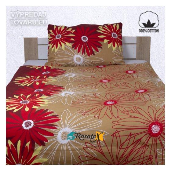 margareta bavlnene obliecky hneda cervena 140x200cm 520x520