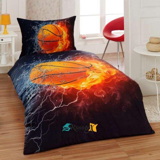 bavlnene obliecky 3d foto deluxe 140x200 so zipsom basketball