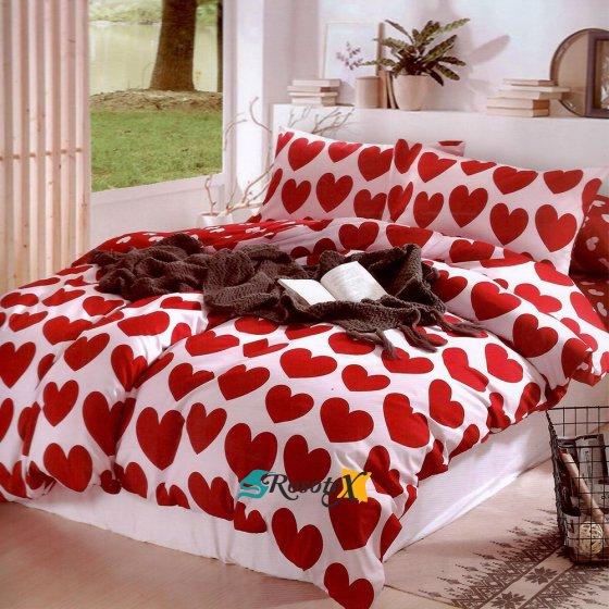 bavlnene obliecky 3d foto HEART 12 red bavlna 140x200