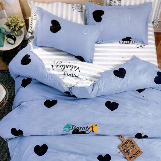 bavlnene obliecky 3d foto HEART modra svetla bavlna 140x200