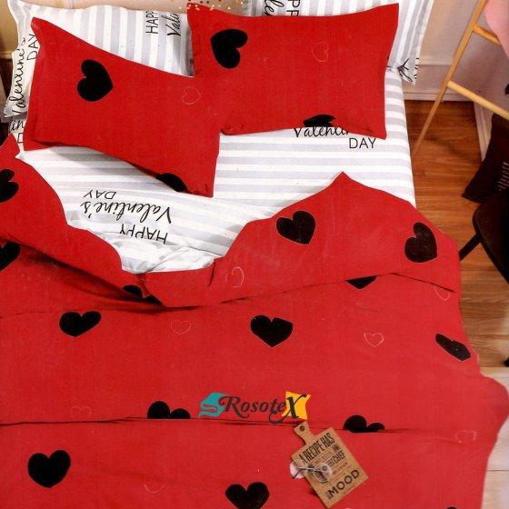 bavlnene obliecky 3d foto HEART cervena bavlna 140x200