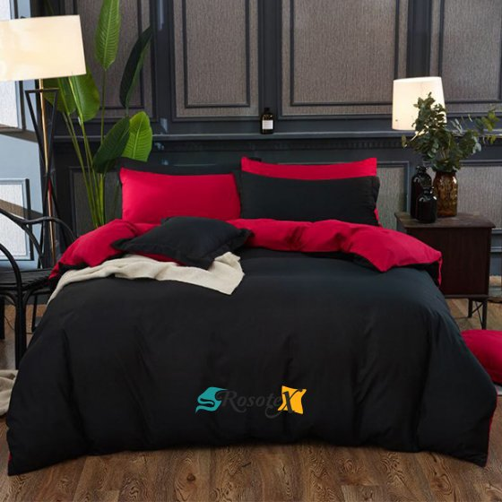 bavlnene postelne obliecky BLACK&RED 7 dielna suprava 140x200cm