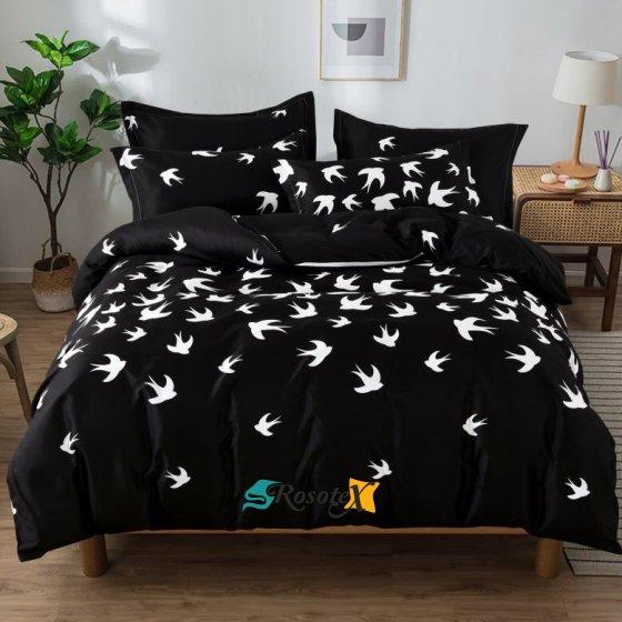 bavlnene obliecky SWALLOW BLACK 140x200cm