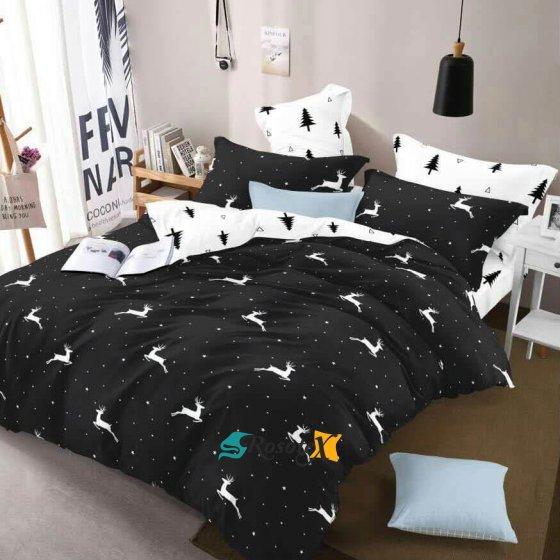 bavlnene obliecky CHRISTMAS BLACK 7 dielna suprava 140x200cm