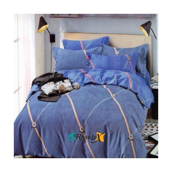 bavlnene obliecky KNOB BLUE 3 dielna sada 140x200cm