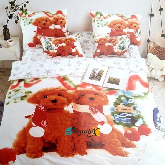 bavlnene obliecky CHRISTMAS DOG 01 3 dielna sada 140x200cm