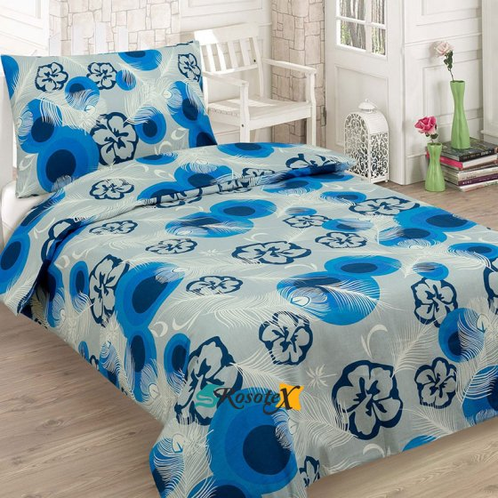 bavlnene obliecky FLOWER BLUE 2 dielna sada 140x200cm