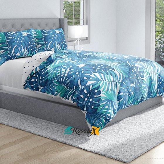 bavlnene obliecky na zips DELUXE BLUE LEAFS 140x200cm