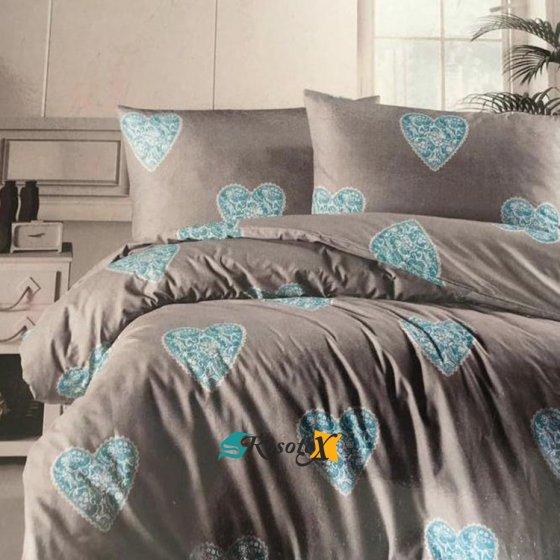 bavlnene obliecky deluxe HEARTS gray blue 140x200cm
