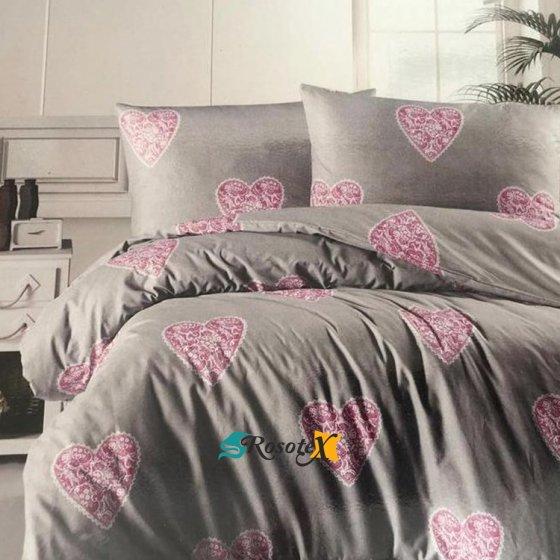 bavlnene obliecky deluxe HEARTS gray purple 140x200cm