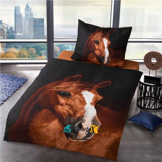 bavlnene obliecky 3d foto HORSE dvojdielna sada 140x200cm