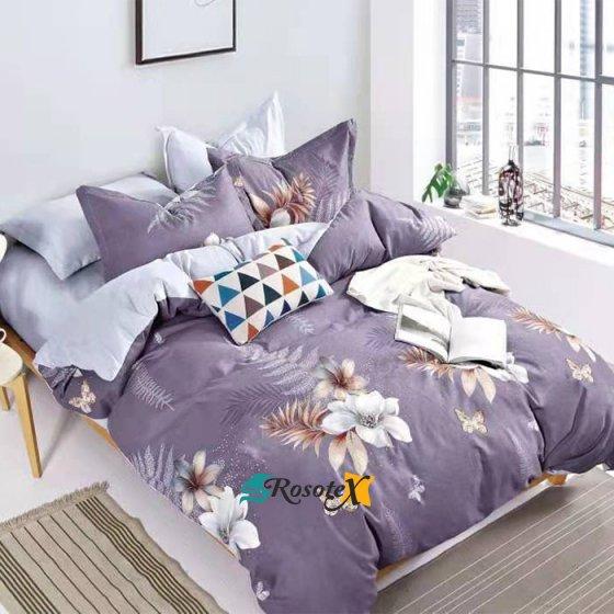 postelne obliecky LIGHT FLOWERS purple 7 dielna suprava 140x200cm gombik