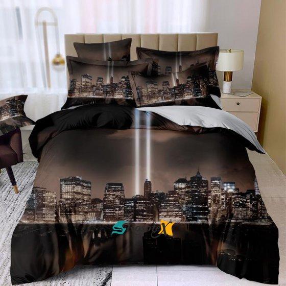 postelne obliecky THEO NIGHT CITY 3 dielna sada 140x200cm