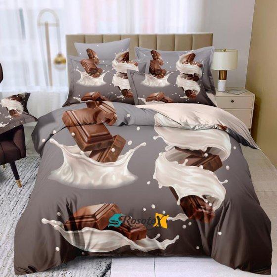 postelne obliecky THEO CHOCOLATE 3 dielna sada 140x200cm