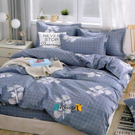 bavlnene obliecky DIANA LOVE BLUE 7 dielna sada 140x200cm