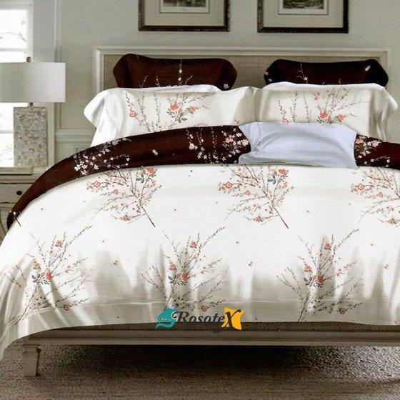 bavlnene obliecky LEA WHITE BROWN FLOWERS 7 dielna sada 200x220cm