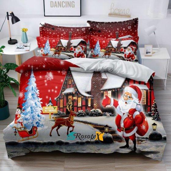 obliecky christmas time red santaland 3 dielna sada 140x200cm 3668