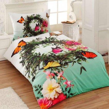 bavlnene obliecky 3d foto deluxe 140x200 so zipsom flower butterfly