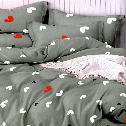 postelne obliecky HEARTS 19 gray 7 dielne balenie 140x200