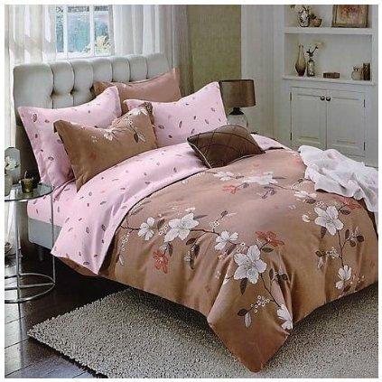 bavlnene obliecky FLOWER 2 BROWN 140x200cm