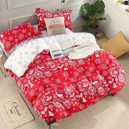 bavlnene obliecky CHRISTMAS RED 3 dielna sada 140x200cm